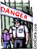 Police officer standing on guard with danger in background Vector Clipart picture