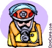 Fireman with helmet and respirator Vector Clip Art picture