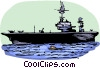 Aircraft carrier sailing to war Vector Clipart picture