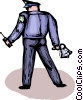 Officers of the Law and Police with megaphone Vector Clip Art graphic