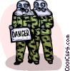 Marines wearing toxic chemical suits with danger sign Vector Clip Art graphic
