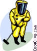 Security personnel wearing Toxic Chemical suit cleaning up Vector Clipart illustration