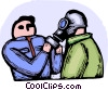 Marine getting fitted with gas mask Vector Clipart picture