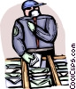 Postal worker sorting mail with protective mask and gloves Vector Clip Art picture