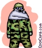 Army personnel wearing Toxic Chemical suit Vector Clipart illustration