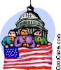 People with candles and US flag at Capital Hill Vector Clip Art image