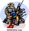 Firemen with his axe at ground zero Vector Clip Art picture