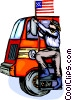Fireman getting into fire truck Vector Clipart illustration