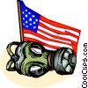 Safety Mask Gas Mask and US flag Vector Clipart image