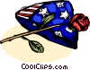 Veterans Remembrance Memorial Day US flag and rose Vector Clipart picture