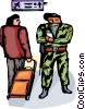 Officers of the Law and Police monitoring air travelers Vector Clipart illustration