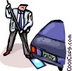 Police checking for contraband under vehicle Vector Clipart picture