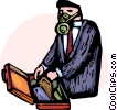Businessman wearing gas mask Vector Clipart image