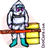 Security personnel in Toxic Chemical suit Vector Clip Art picture