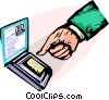 Security precaution thumb print Vector Clip Art image