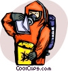 Security personnel in bio hazard suit checking mail Vector Clipart image