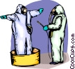 Security personnel spraying each other down Vector Clipart illustration