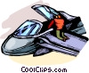Air force personnel repairing fighter jet Vector Clipart illustration