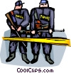 Officers of the Law and Police standing on guard Vector Clip Art picture