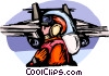 Air force personnel directing fighter jet Vector Clipart picture