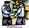Police handling potentially hazardous mail Vector Clipart illustration