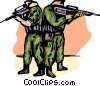 Marines back to back ready to fire their guns Vector Clipart graphic