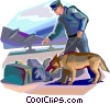 Police dog sniffing for hazardous materials Vector Clip Art picture