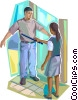 Airport Security personnel scanning passenger Vector Clipart illustration