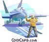 Air force personnel directing fighter jet Vector Clip Art image