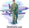 Air force pilot after successful mission Vector Clip Art graphic