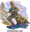 Marines scouting for potentially dangerous targets Vector Clipart image
