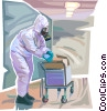 Security personnel searching for Toxic Chemicals Vector Clip Art image