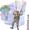Marines parachuting to the ground Vector Clipart illustration