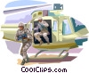 Marines jumping from helicopter in battle zone Vector Clip Art picture