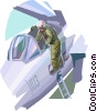 Air force pilot preparing his fighter jet Vector Clip Art graphic