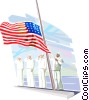 Navy soldiers raising US flag Vector Clip Art image