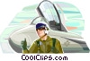 Air force pilot giving thumbs up Vector Clip Art picture