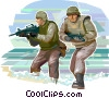 Marines in battle zone Vector Clipart illustration