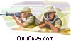 Marines dug in ready for battle Vector Clipart image