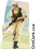 Marine on patrol Vector Clip Art picture