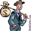man back on his feet with a bag of money Vector Clip Art picture
