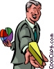 Businessman offering piece of success Vector Clip Art picture