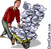 man with wheelbarrow full of paper work Vector Clipart picture