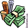 Stacks of coins on dollars Vector Clipart picture