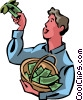 Man picking money off tree Vector Clip Art picture