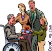 elderly person receiving a gift from grandchild Vector Clipart graphic