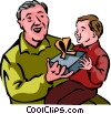 Grandfather giving a gift to his grandson Vector Clipart illustration