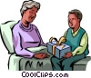Grandson giving his grandmother a gift Vector Clip Art image