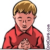 Boy praying Vector Clip Art picture