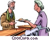Homeless man getting a meal at the shelter Vector Clip Art graphic